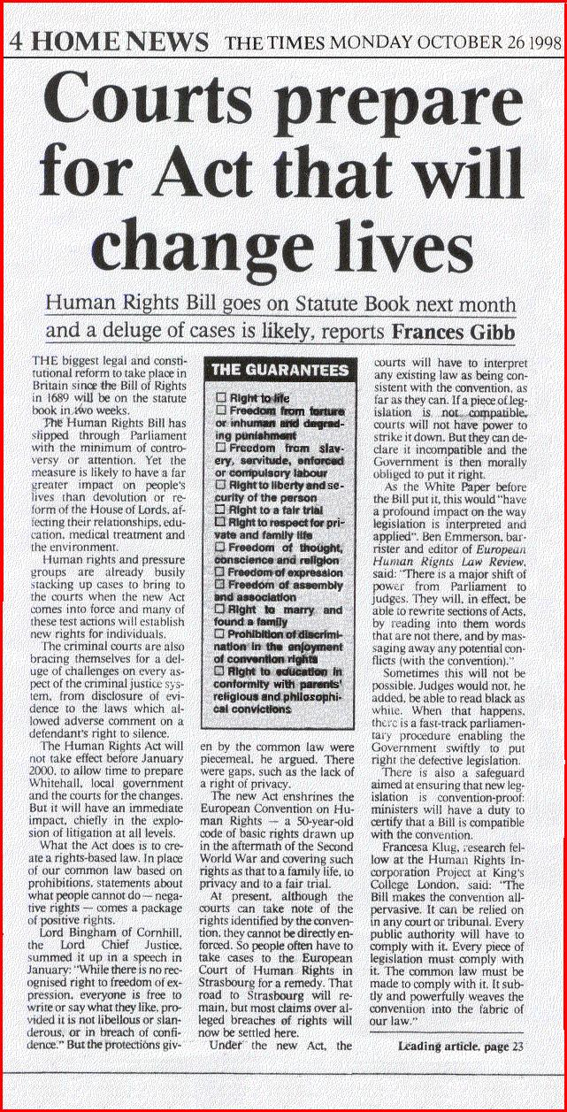 although the human rights act 1998 Corporate and business law (english) december 2012 answers although the human rights act 1998, which introduces the european convention on human rights into the united kingdom, does not directly challenge parliamentary.